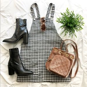 TOPSHOP Gingham Checkered Overalls Dress Jumper